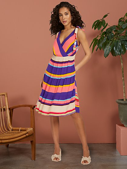 Stripe Tiered Dress With Shoulder Ties - New York & Company
