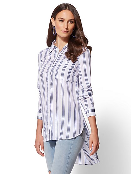 Stripe Twist-Back Tunic Shirt - New York & Company