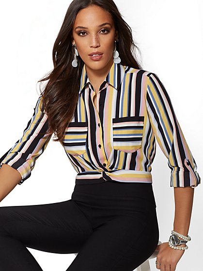 Stripe Twist-Front Crop Shirt - 7th Avenue - New York & Company