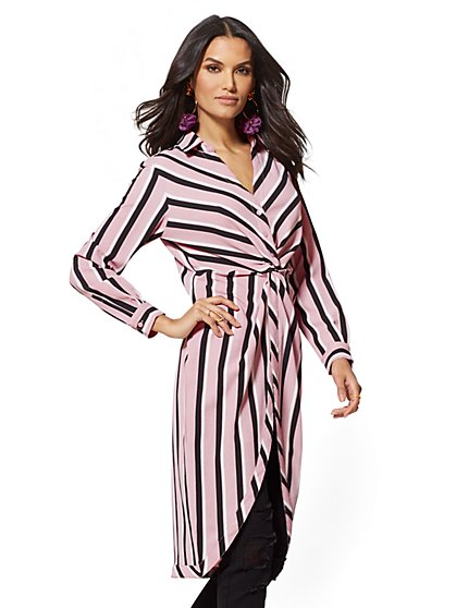 Stripe Twist-Front Maxi Blouse - New York & Company