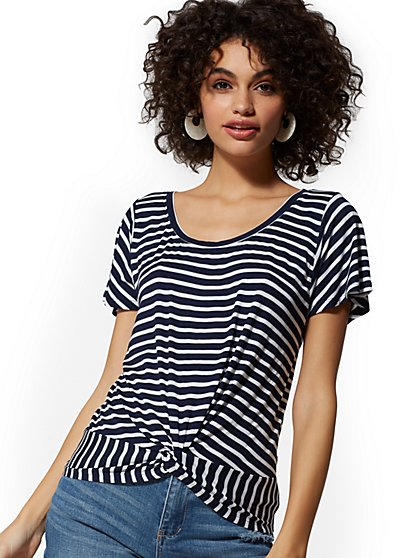Stripe Twist-Front Top - Soho Soft Tee - New York   Company ... 9e69d039d