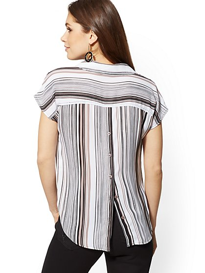 Stripe V-Neck Button-Back Top - Soho Soft Shirt - New York & Company