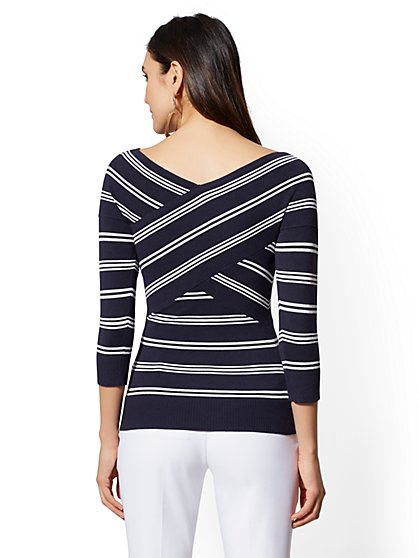 ... Stripe V-Neck Crossover Sweater - New York   Company ... ebf774645
