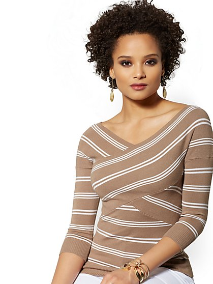 Stripe V-Neck Crossover Sweater - New York & Company