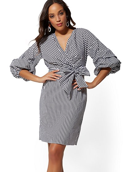 Stripe V-Neck Poplin Shirtdress - New York & Company