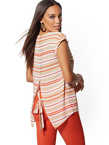 Stripe V-Neck Split-Back Blouse - 7th Avenue - New York & Company