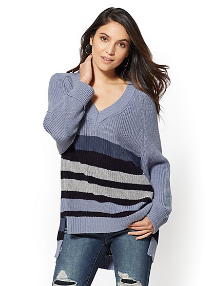 Stripe V-Neck Tunic Sweater - New York & Company