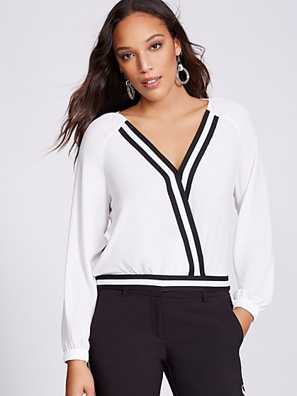 Stripe V-Neck Wrap Blouse - Gabrielle Union Collection - New York & Company