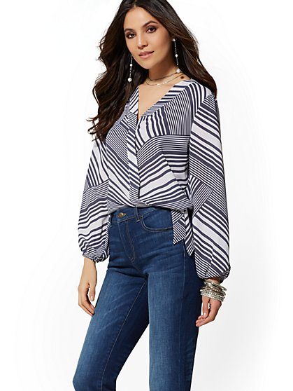 Stripe V-Neck Wrap Shirt - Soho Soft Shirt - New York & Company