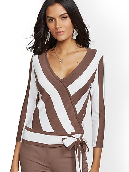 Stripe V-Neck Wrap Sweater - 7th Avenue - New York & Company