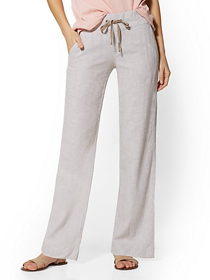 Stripe Wide-Leg Linen Blend Pant - Soho Street - New York & Company