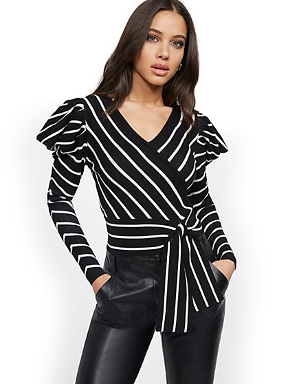 Stripe Wrap Puff Sleeves Sweater - New York & Company