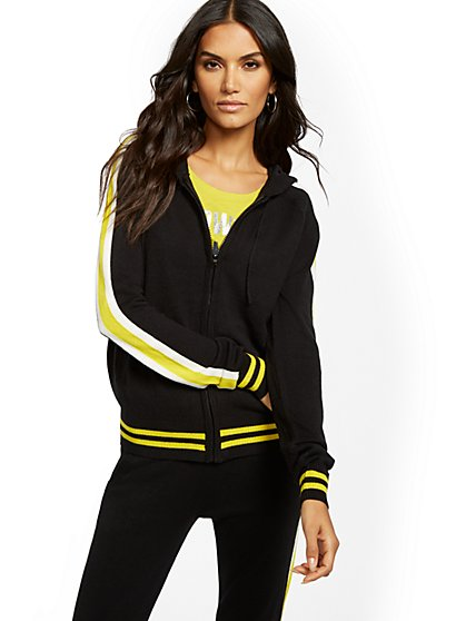 Stripe Zip-Front Hooded Sweater - Soho Street - New York & Company