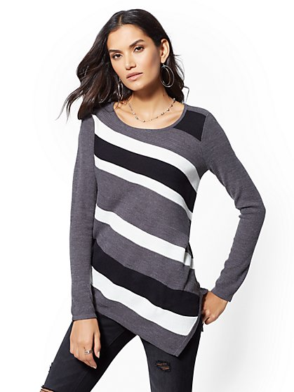 Striped Asymmetrical Tunic Sweater - New York & Company