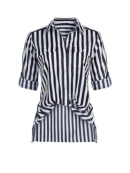 Striped Button-Down Twist-Front Shirt - New York & Company