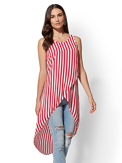 Striped Hi-Lo Wrap Shirt - New York & Company