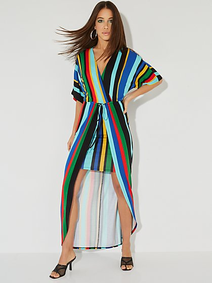 Striped Kimono Maxi Dress - NY&C Style System - New York & Company
