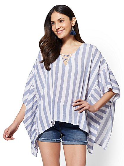 Striped Lace-Up Kimono Blouse - New York & Company