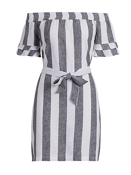 Striped Linen Off-The-Shoulder Dress - New York & Company
