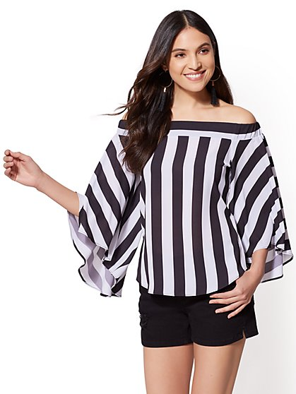 Striped Off-The-Shoulder Blouse - New York & Company
