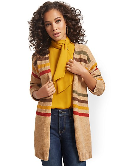Striped Open Cardigan - New York & Company