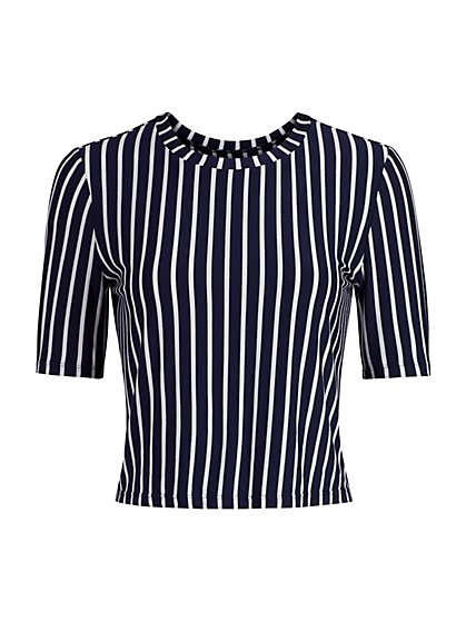 Striped Open Twist-Back Tee - New York & Company