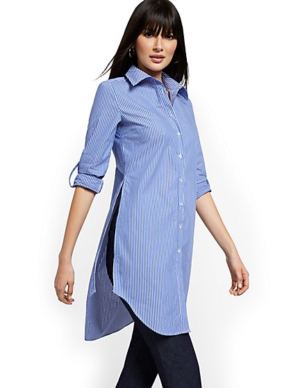 Striped Oversized Poplin Tunic Top - New York & Company