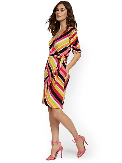 Striped Ruche-Sleeve Wrap Dress - NY&C Style System - New York & Company