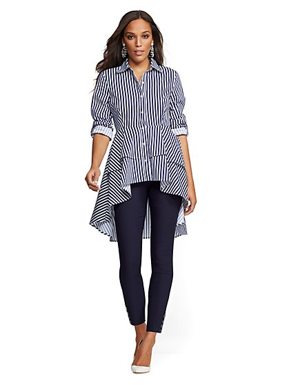Striped Tiered Hi-Lo Poplin Shirt - New York & Company
