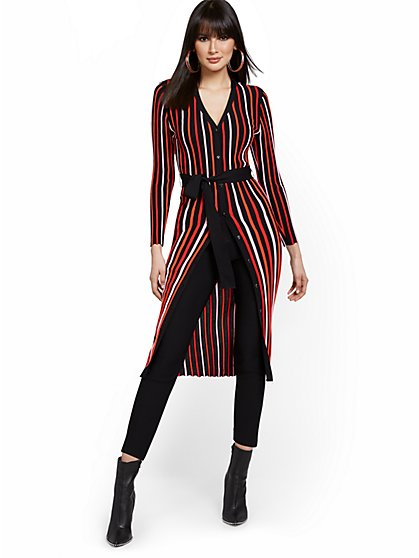 Striped V-Neck Duster - New York & Company