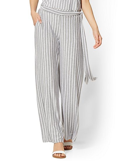 Striped Wide-Leg Pull-On Pant - New York & Company