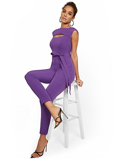 Structured Cap-Sleeve Jumpsuit - New York & Company