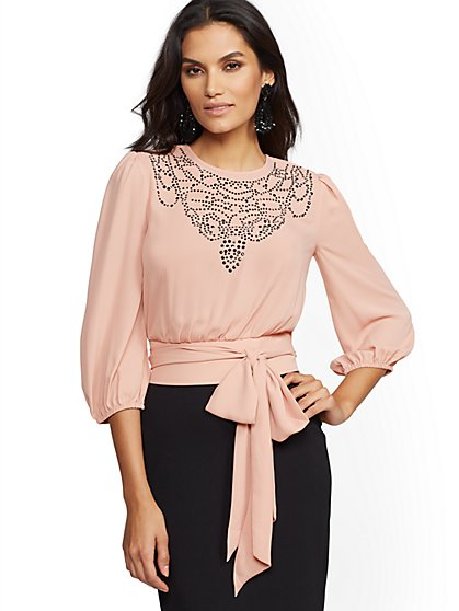 Studded Belted Blouse - New York & Company