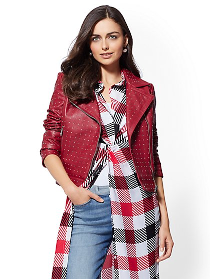 Studded Faux-Leather Moto Jacket - New York & Company