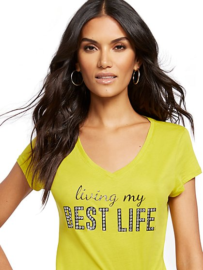 "Studded ""Living My Best Life"" Graphic Logo Tee - New York & Company"
