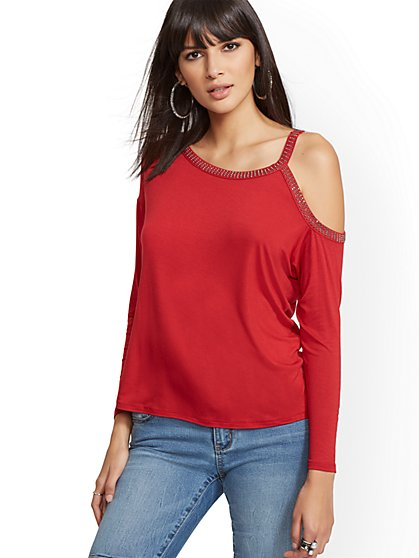 Studded One-Shoulder Top - New York & Company