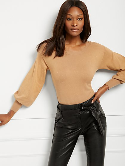Studded Puff-Sleeve Sweater - New York & Company