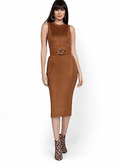 Suede-Front Sleeveless Sweater Dress - New York & Company