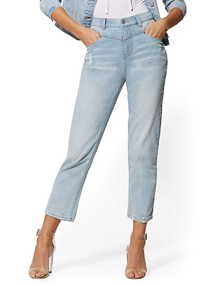 Super High-Waist Crop Straight Leg Jeans - Indigo - New York & Company
