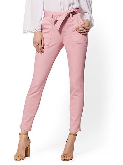Super High Waist Tapered Leg Jeans - Pink - New York & Company