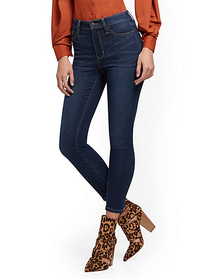 Super High-Waisted Abby No Gap Super-Skinny Ankle Jeans - Dark Blue - New York & Company