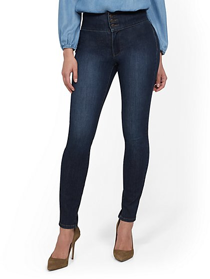 Super High-Waisted Corset Curvy No Gap Super-Skinny Jeans - Indigo - New York & Company