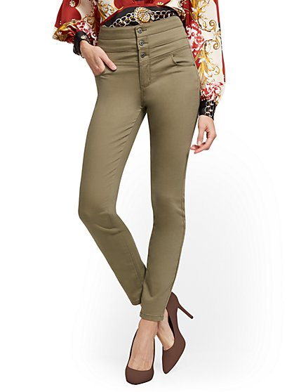 Super High-Waisted Corset Curvy No Gap Super-Skinny Jeans - Olive - New York & Company