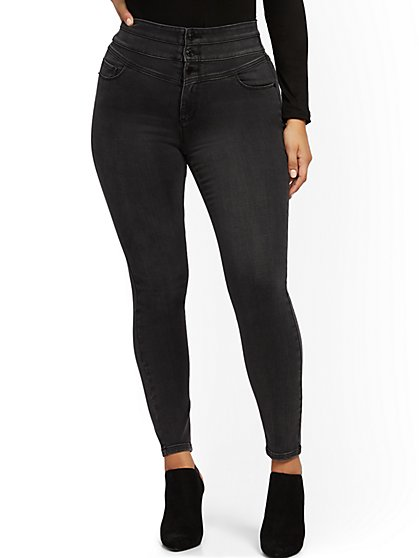 Super High-Waisted Corset Curvy No Gap Super-Skinny Jeans - Washed Black - New York & Company