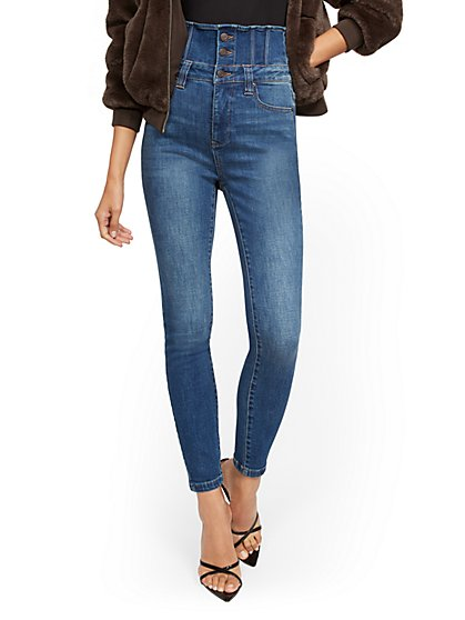 Super High-Waisted Corset Super-Skinny Jeans - Brilliant Blue - New York & Company