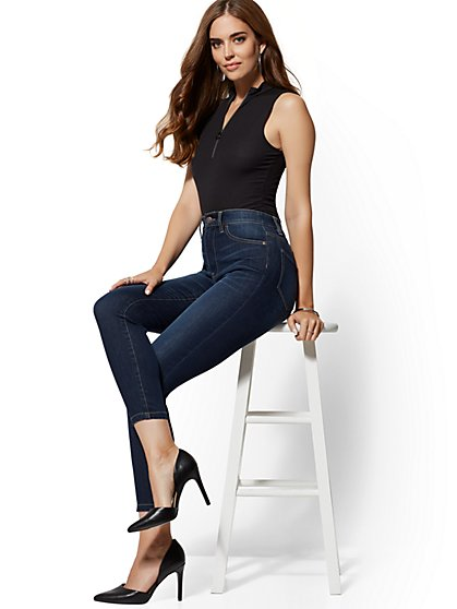 Super High-Waisted No-Gap Super-Skinny Ankle Jeans - Dark Blue - New York & Company