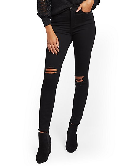 Super High-Waisted No-Gap Super-Skinny Jeans - Black - New York & Company