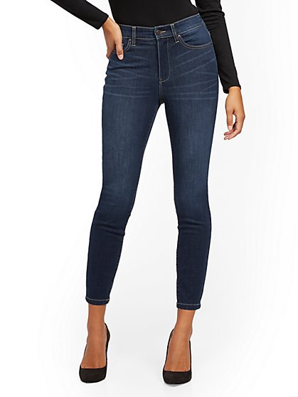 Super High-Waisted No-Gap Super-Skinny Jeans - Dark Blue - New York & Company