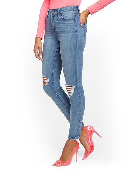 Super High-Waisted No Gap Super-Skinny Jeans - Medium Blue - New York & Company