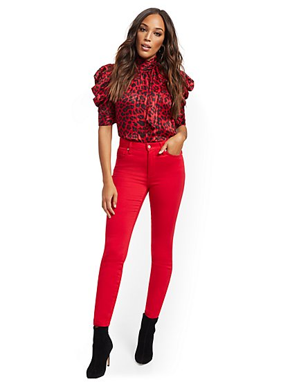 Super High-Waisted No-Gap Super-Skinny Jeans - Red - New York & Company